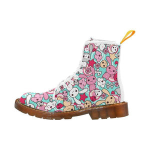 e-joyer Martin Boots for Women(1203H) The Mid Blue Kawaii Goth Bunny White Martin Boots