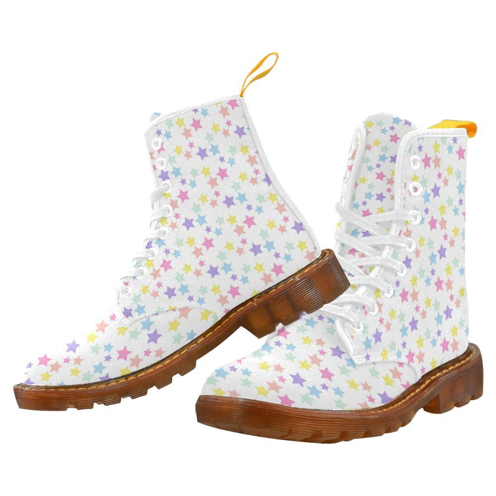 e-joyer Martin Boots for Women(1203H) The Kawaii Pastel Stars Part Deux White Martin Boots