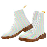 e-joyer Martin Boots for Women(1203H) The Kawaii Pastel Pinstripes White Martin Boots