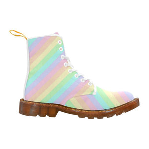 e-joyer Martin Boots for Women(1203H) The Kawaii Pastel Stripes White Martin Boots