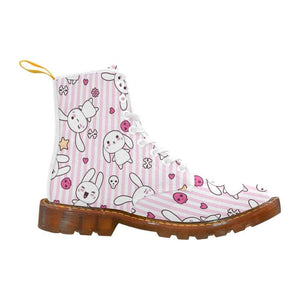 e-joyer Martin Boots for Women(1203H) The Kawaii Goth Bunny Pink Stripe White Martin Boots