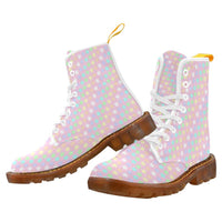 e-joyer Martin Boots for Women(1203H) The Kawaii Pink Pastel Stars White Martin Boots