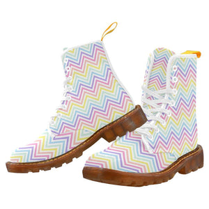 e-joyer Martin Boots for Women(1203H) The Pastel Zig Zag 2 White Martin Boots