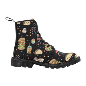 e-joyer Martin Boots for Women (Black) (1203H) The Kawaii Junkfood Doodle Black Martin Boots