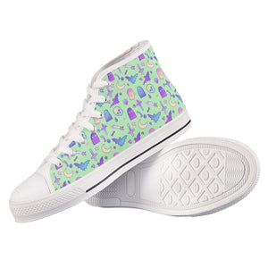 So Kawaii Shop mint batty white high top all ambitions High Top Canvas Shoes (White)