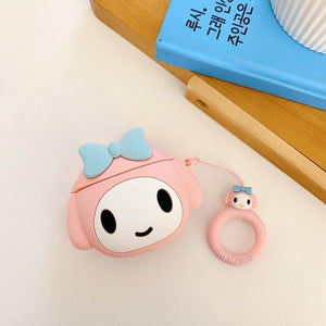 So Kawaii Shop My Melody Big w Ring For AirPods Case Cute Cinnamoroll Melody Kuromi Purin Frog Earphone Cases For Apple Airpods Protect Cover with Cartoon Pendant 26675363-c-melody
