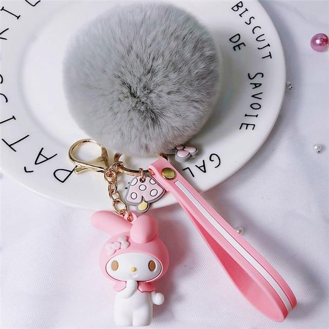 So Kawaii Shop My Melody Grey Pom Kawaii Sanrio Pom Pom Charmy Keychain 30755825-zz-09