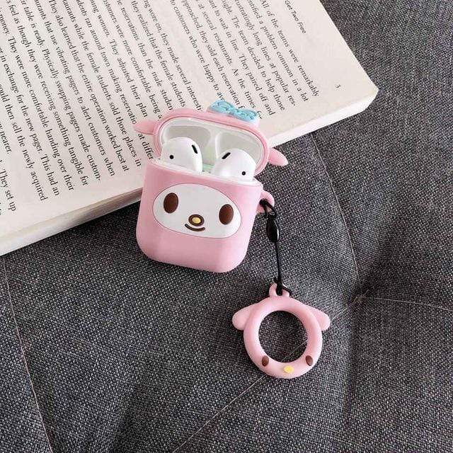 So Kawaii Shop My Melody with Ring For AirPods Case Cute Cinnamoroll Melody Kuromi Purin Frog Earphone Cases For Apple Airpods Protect Cover with Cartoon Pendant 26675363-b-melody
