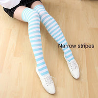 So Kawaii Shop narrow stripes blue/white Kawaii Candy Color Striped Thigh High Stockings 17635598-a20