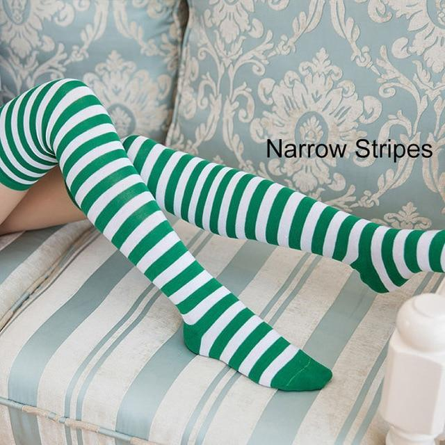 So Kawaii Shop narrow stripes green/white Kawaii Candy Color Striped Thigh High Stockings 17635598-a21
