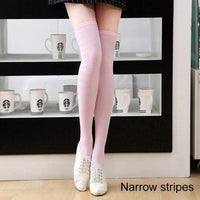 So Kawaii Shop narrow stripes pink/white Kawaii Candy Color Striped Thigh High Stockings 17635598-a17