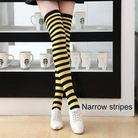 So Kawaii Shop narrow stripes yellow/black Kawaii Candy Color Striped Thigh High Stockings 17635598-a19