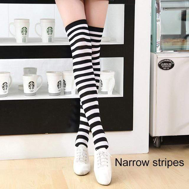 So Kawaii Shop narrow strips black/white Kawaii Candy Color Striped Thigh High Stockings 17635598-a18