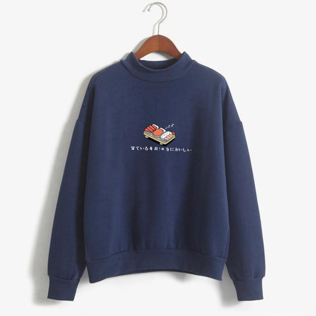So Kawaii Shop navy / M Kawaii Sushi Japanese Print Harajuku Sweatshirt 10603090-navy-m
