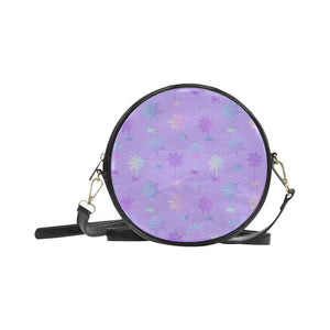 e-joyer One Size / purple cobwebs Round Sling Bag (Model 1647) Round Sling Bag Spiderwebs D3954296