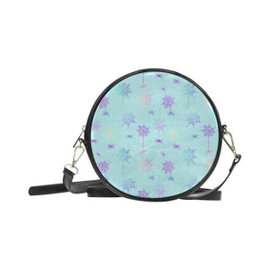 e-joyer One Size / spiderwebs on lighter blue Round Sling Bag (Model 1647) Round Sling Bag Spiderwebs D4028924