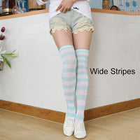 So Kawaii Shop pale turquoise/white Kawaii Candy Color Striped Thigh High Stockings 17635598-a10