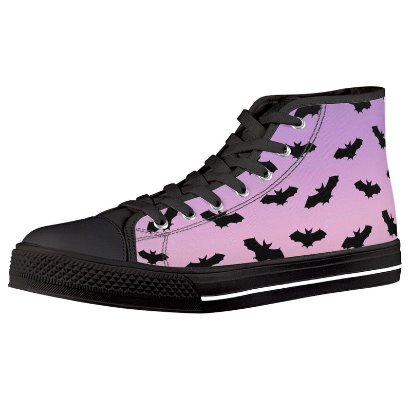So Kawaii Shop Pastel Black Bats dark high all ambitions Black High Top Canvas Shoes