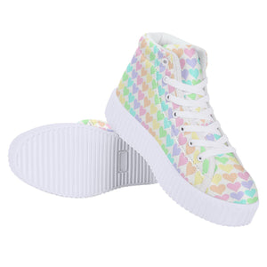 So Kawaii Shop pastel hearts platforms Women's High Top Platform Shoes
