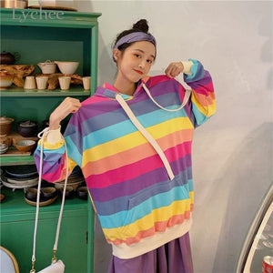 So Kawaii Shop Pastel Stripes / M The Kawaii Harajuku Rainbow Stripe Pullover Hoodie 29624289-light-color-m
