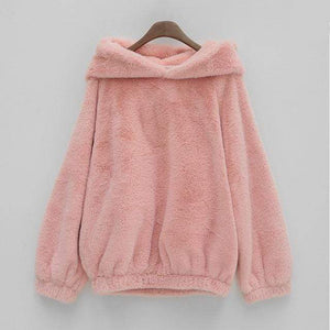 So Kawaii Shop Pink Hoodies / S Kawaii Soft Furry Bear Hoodie 19184256-pink-hoodies-s