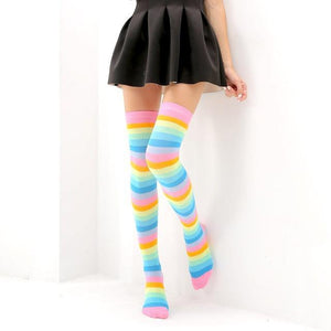 So Kawaii Shop Pastel Rainbow / One Size Kawaii Rainbow Stripes Over The Knee Socks 22803673-pink-iridescent-one-size