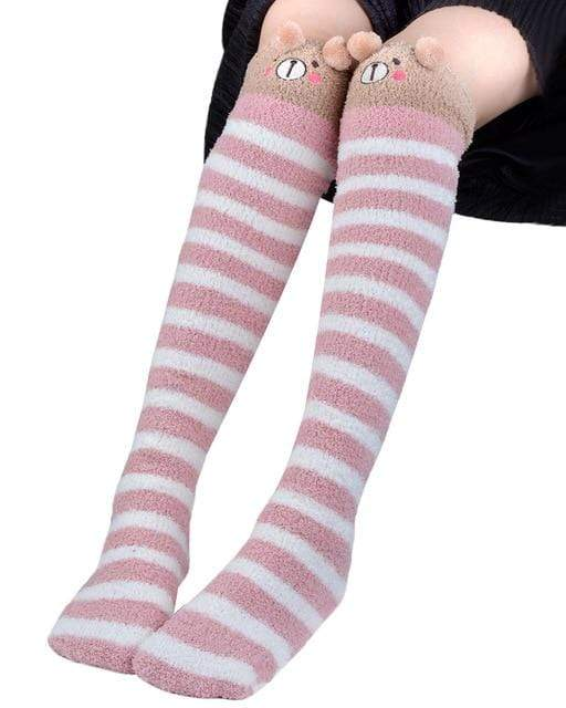 So Kawaii Shop Pink Kawaii Japanese Animal Thigh High Socks 20070242-pink