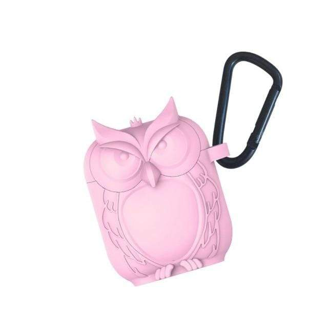 So Kawaii Shop Pink Kawaii Owl Shape Soft Silicone Shockproof Case With Carabiner For WIreless Headphones 22761653-pink