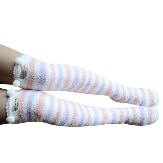 So Kawaii Shop pink/lilac strip/lamb Harajuku Kawaii Animal Thigh High Socks 15485321-c04
