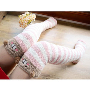 So Kawaii Shop pink stripe/brown bear Harajuku Kawaii Animal Thigh High Socks 15485321-c03