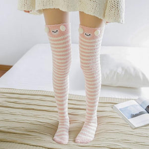 So Kawaii Shop pink stripes/lamb Harajuku Kawaii Animal Thigh High Socks 15485321-c06