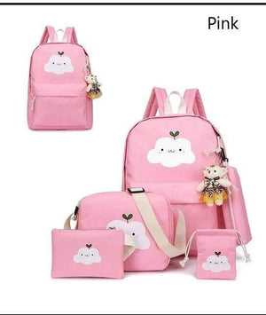 So Kawaii Shop pink Super-Kawaii Nylon Backpack and Travel Bag Set 16048683-pink