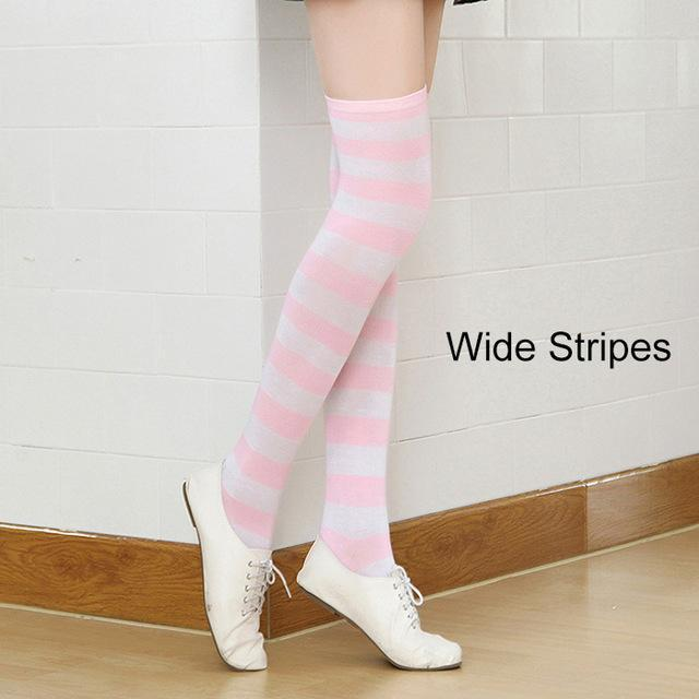 So Kawaii Shop pink/white Kawaii Candy Color Striped Thigh High Stockings 17635598-a8