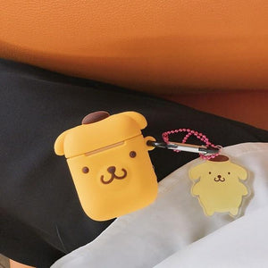 So Kawaii Shop Pom Pom Purin w Pendant For AirPods Case Cute Cinnamoroll Melody Kuromi Purin Frog Earphone Cases For Apple Airpods Protect Cover with Cartoon Pendant 26675363-purin-pendant