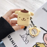 So Kawaii Shop Pom Pom Purin with Ring For AirPods Case Cute Cinnamoroll Melody Kuromi Purin Frog Earphone Cases For Apple Airpods Protect Cover with Cartoon Pendant 26675363-b-purin