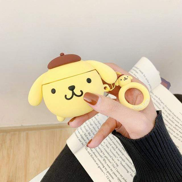So Kawaii Shop Pom Purin Big with Ring For AirPods Case Cute Cinnamoroll Melody Kuromi Purin Frog Earphone Cases For Apple Airpods Protect Cover with Cartoon Pendant 26675363-c-purin