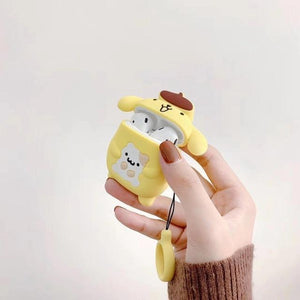 So Kawaii Shop Pom Purin Holding Bear w Ring For AirPods Case Cute Cinnamoroll Melody Kuromi Purin Frog Earphone Cases For Apple Airpods Protect Cover with Cartoon Pendant 26675363-d-purin