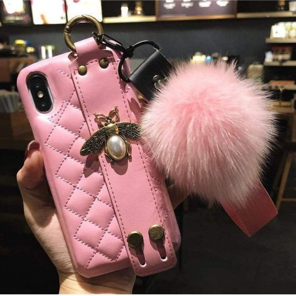 SoKawaii Quilted Luxe w/Bee and Pom Pom Pink / iPhone 6 Plus Kawaii Luxe Cases For iPhone 10001-NO4-IPHONE6PLUS
