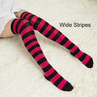 So Kawaii Shop red/black Kawaii Candy Color Striped Thigh High Stockings 17635598-a4