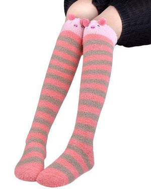 So Kawaii Shop Red Kawaii Japanese Animal Thigh High Socks 20070242-red