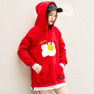 So Kawaii Shop red / M Kawaii Fried Egg Hoodie Sweatshirt 11110848-red-m