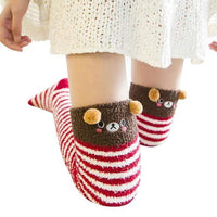 So Kawaii Shop red strips/brown bear Harajuku Kawaii Animal Thigh High Socks 15485321-c01