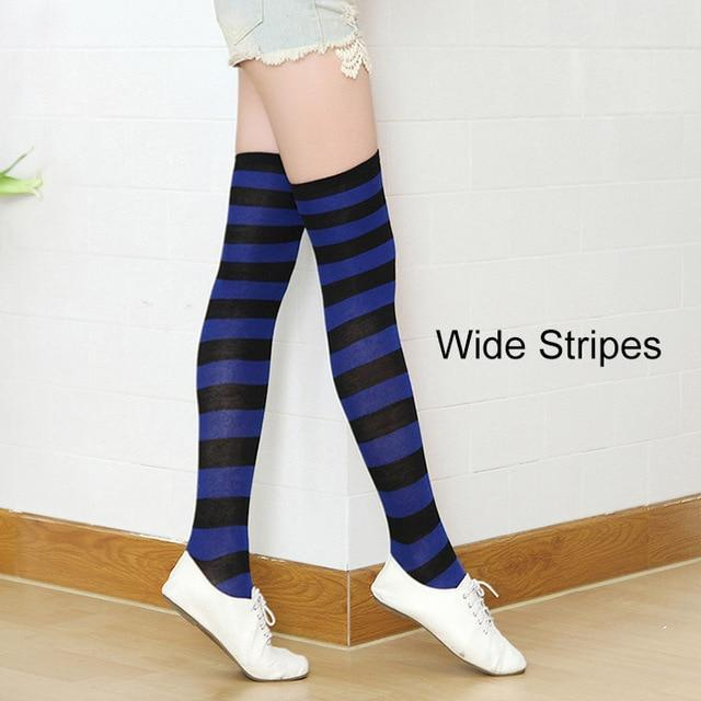 So Kawaii Shop royal/black Kawaii Candy Color Striped Thigh High Stockings 17635598-a9