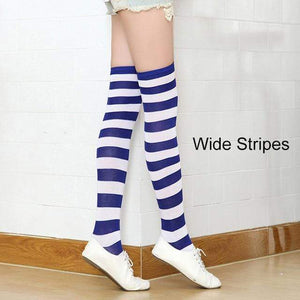 So Kawaii Shop royal/white Kawaii Candy Color Striped Thigh High Stockings 17635598-a7
