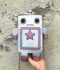 So Kawaii Shop Silver Kawaii Robot Laser Cut Leather Mini Chain Purse 22741327-silver