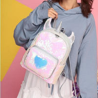 So Kawaii Shop Silver Kawaii Sequin Unicorn Heart Backpack 22789986-silver
