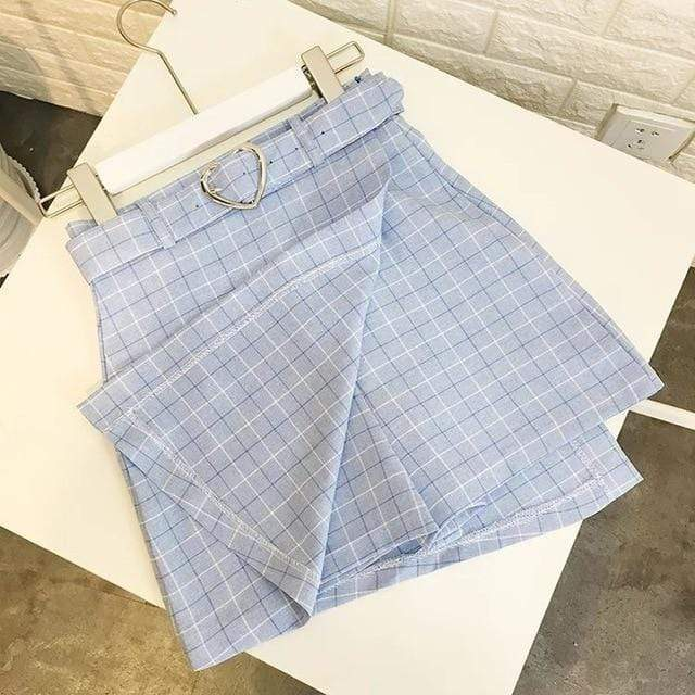 So Kawaii Shop Sky blue / S Kawaii Plaid A-line Skort 4966144-sky-blue-s