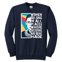 teelaunch T-shirt Youth Crewneck Sweatshirt / Navy / XS RBG Quote Sweatshirt Youth Teelaunch PC90Y