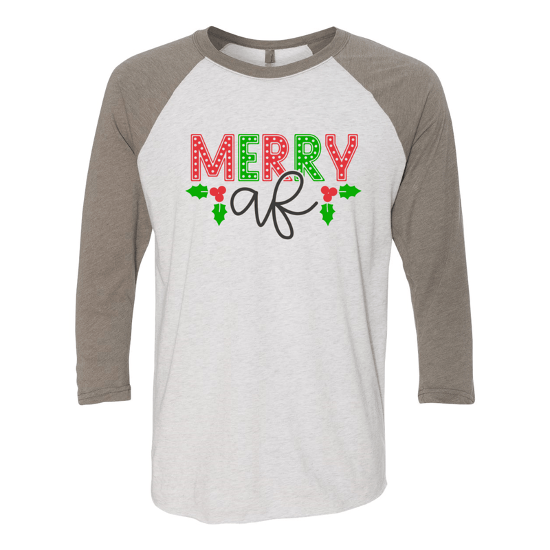 Print Melon Inc. T-Shirts 2XL / Venetian Grey Sleeves/ Heather White Body merry af baseball melon 414605