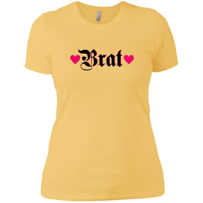 CustomCat T-Shirts Banana Cream/ / X-Small Brat Black w Hot Pink Hearts 829-10833-78264372-52557